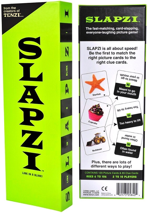 Slapzi Game, a great fast paced game for ages 6+. match the picture to the clue as fast as you can !