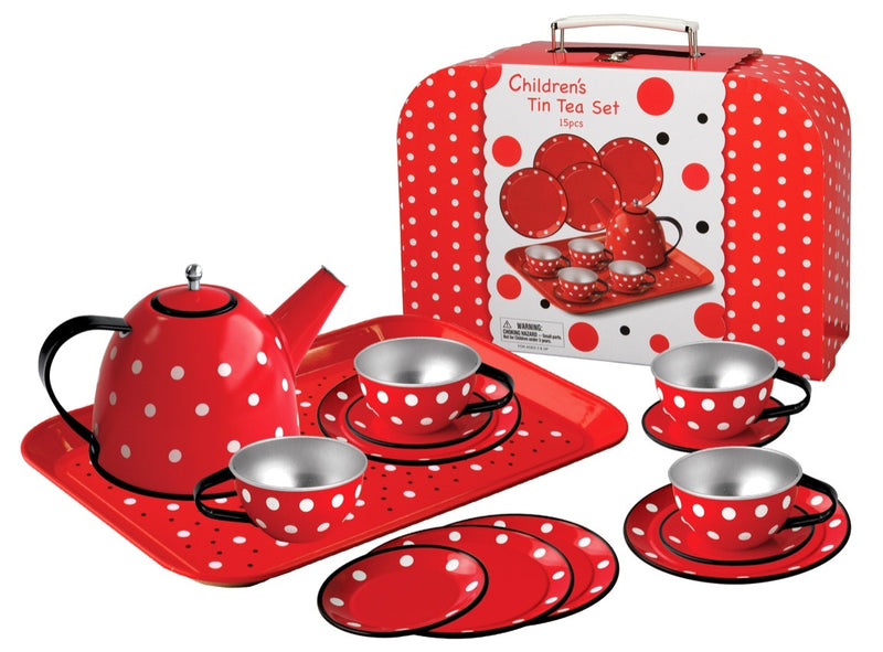 A gorgeous Tin Tea Set from Egmont. 15 piece set includes 4 teacups & saucers, 4 plates ,teapot and serving tray. Presented in beautiful case. A gorgeous polka dot design Designed in Europe by Egmont. Case size 28 cm x 20 cm x 9cm Not suitable to carry liquids, for pretend play only Recommended age 3+