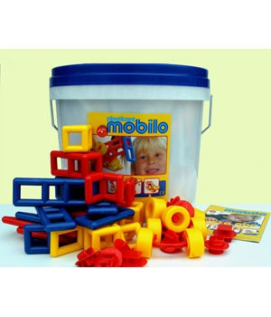 Mobilo large bucket is a great comprehensive set for hours of open ended building. Made in Germany.