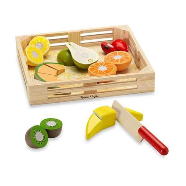 This fantastic Melissa and Doug fruit box encourages children to improve fine motor skills and creative play. Each wooden fruit is connected by velcro