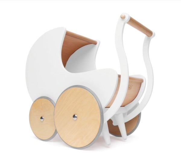 KInderfeets wooden pram is great for ages 1 + and assits in walking  confidence.