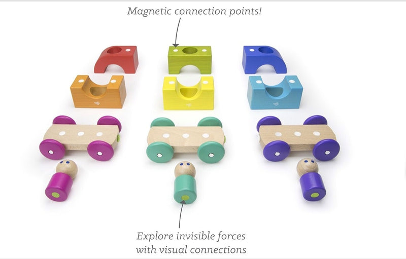 Tegu - Wooden Magnetic Tram in multi colour print