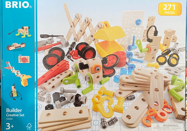 The ultimate Brio construction set! Set includes 270 x Brio builder piece including nuts, bolts, blocks, a screwdriver, a hammer, a spanner and pliers