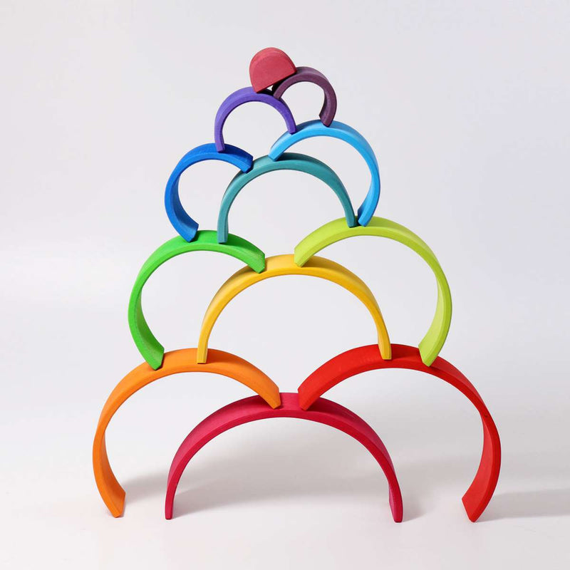 "Grimm""s - Wooden Coloured Rainbow Large 12 Pieces"