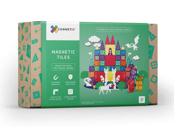 Connetix tiles boxed set of 100 colourful magnetic tiles for creative and imaginative building. Recommended age 3 +
