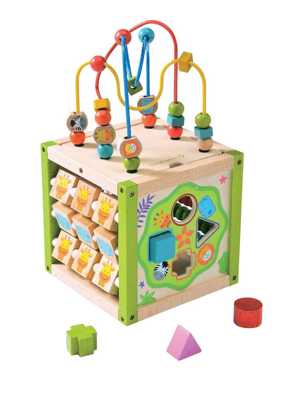 This item includes a removable and reversible top with bead frame , 4 activity sides including a sliding peg board, a shape sorter, Abacus and Tic-Tac-Toe This multi- functional learning cube entertains children while improving eye-hand coordination and imagination . Recommended age 1 + Interstate & remote areas may require a postage quote.