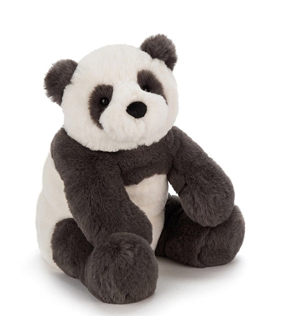 Tubby & ticklish, Harry Panda Cub is such a cuddly chap. His charcoal-grey and creamy fur is velvety-soft and so beary snuggly. Harry's beany feet help him sit up, and his lollopy legs swing about when he's carried. We love his bobbly tail the best.