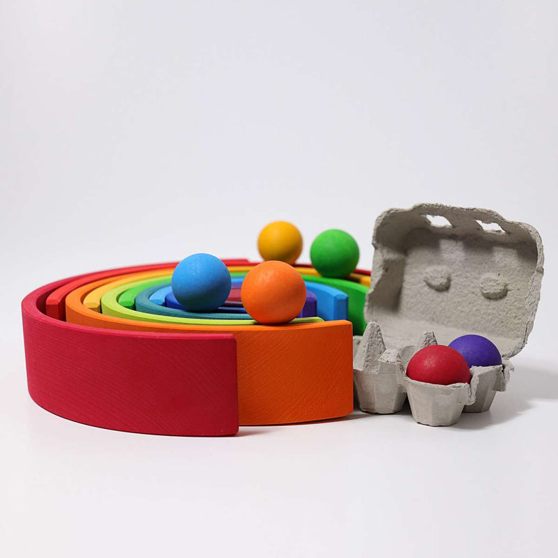 exploration play with the grimms large wooden rainbow building toy for babies and kids online childplay melbourne