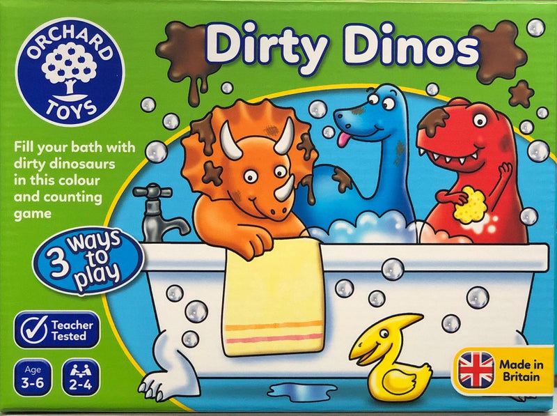 Orchard Toys Dirty Dinos game is a fun learning  game of matching, counting and obersvation for ages 3-6 years