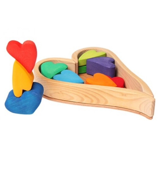 Grimms -  Wooden Rainbow Heart Blocks