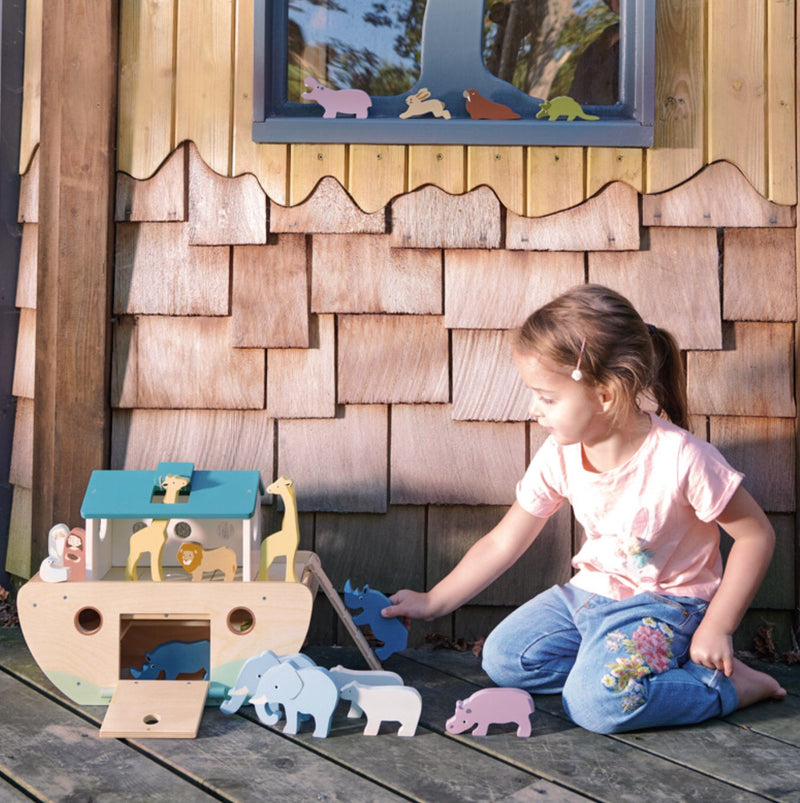 Tender Leaf Toys Noah's Ark is a new item in the wooden range. A classic wooden ark in plain wooden with blue roof. beauitful soft coloured animals make this Ark a pleasure to look at & play with. Hours of imaginative play and recommended age 3+