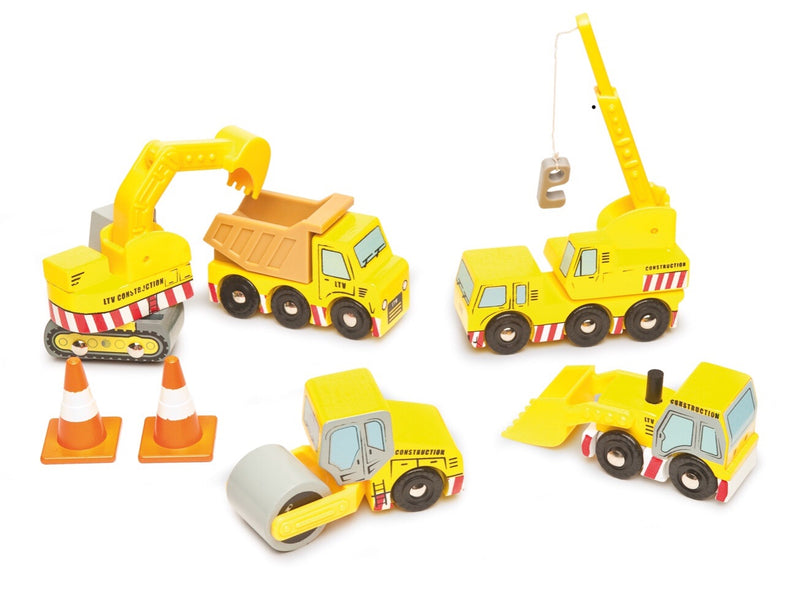 Your very own wooden  construction team is here. Five construction vehicles to play with. A great play set. Recommended age 3+