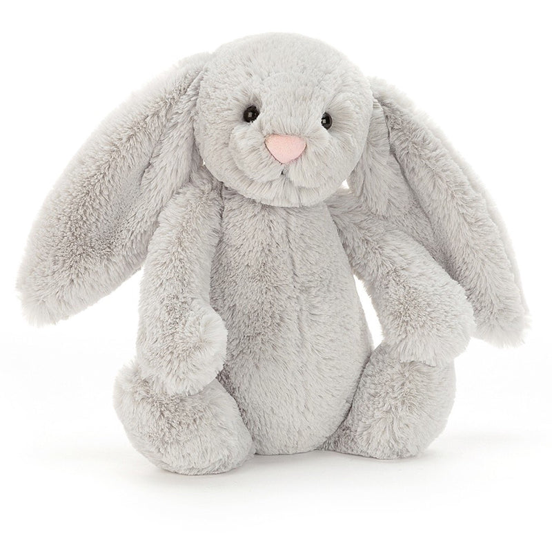 This gorgeous silver little bunny with a cute pink button nose is a perfect gift for any newborn or young child