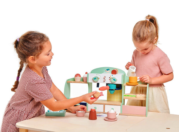 Tender leaf Toys wooden cafe set is a wonderful new set for young ones. Recommended ages 3+ and will invite hours of imaginative play. Serve coffee, tea & cake for hours.