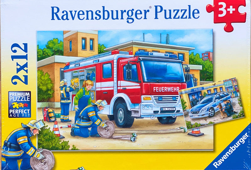 A fun puzzles featuring police and firefighters. Puzzle sizes 18 x 26 cm Box Size 27 x 19 x 3.5 cm Recommended age 4 + Made from recycled board Made in Czech Republic