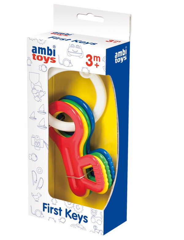 Four brightly coloured giant plastic keys held together on a sturdy keyring for rattling and teething  Length 13.5 cm Recommended age 3 months +