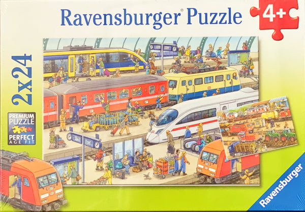 Ravensburger -  Jigsaw Puzzle, 2 x 24 Piece, Busy Train Station