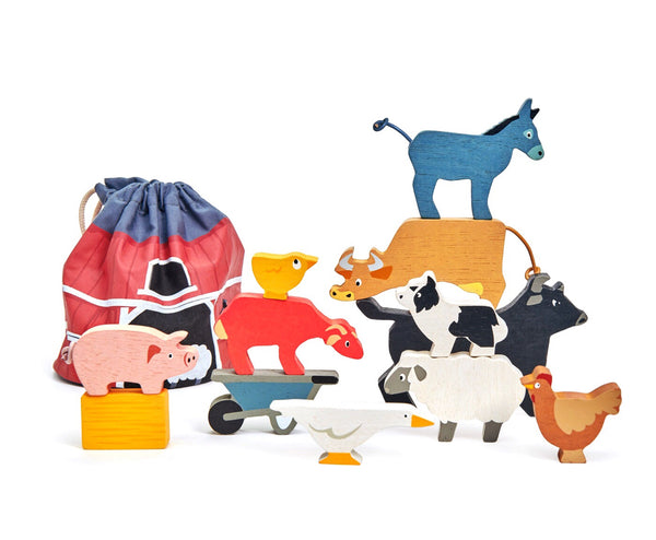Gorgeous farm yard stacking animals by Tender Leaf. Includes a drawstring farm bag to store all the animals for on the go children!