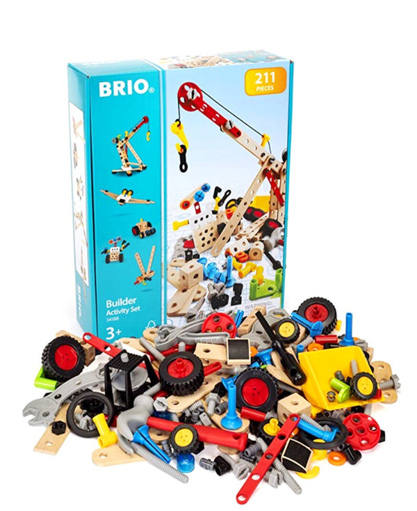 Set includes: Nuts, bolts, blocks, a screwdriver, a hammer, a spanner and pliers. Use your imagination to create any number of objects and then build some more!