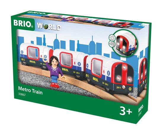A beautiful Londonesque metro train includes 1x Engine, 2x Carriages, 1x Figure The item measures 25.6 x 4 x 5cm