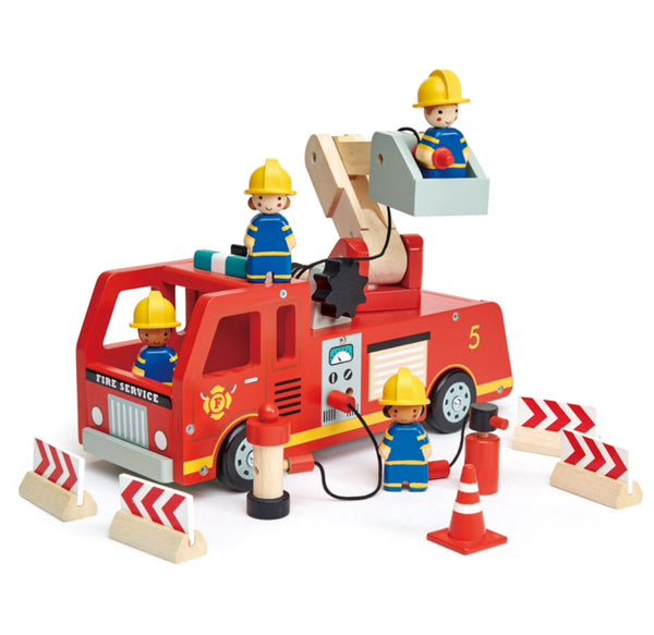 Tender Leaf Toys -  Wooden Fire Engine Set