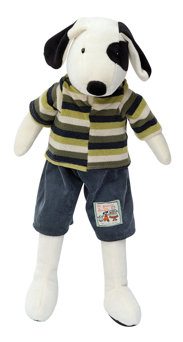 A delightful puppy plush toy wearing a cute outfit. A perfect newborn gift and lovely to cuddle