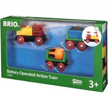 A fabulous moving action train! Watch the cement mixer rotate and the coal wagon move as this train goes along the track
