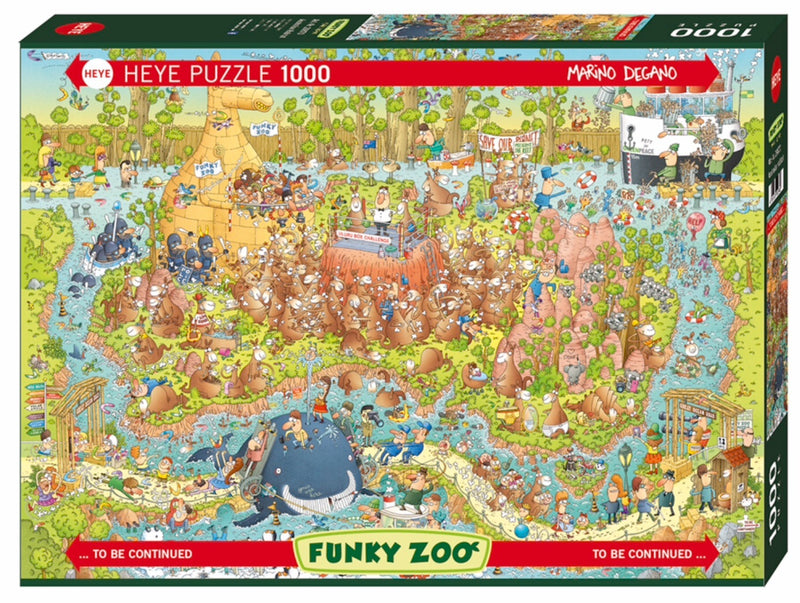 Heye 1000 piece puzzle, Funky Zoo full of all kinds of crazy animals in the Australian Habitat. Cartoon artist Marino Degano has designed a detailed and fun puzzle to complete for ages 12. This puzzle consists of several parts which can be placed alongside each other in any given combination.  .