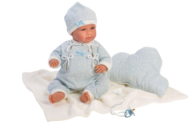 Llorens Baby Doll is a beautiful soft body and ready for cuddles.  A fresh light blue coloured outfit with beanie & booties. Accessories include a dummy & blanket & pillow. A wonderful doll for any child aged 3+