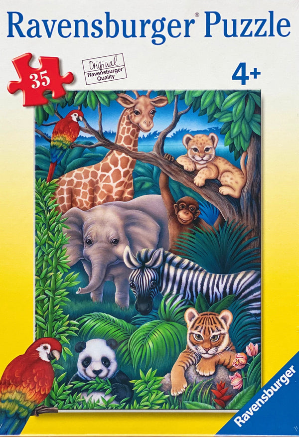 A fun puzzle featuring animals in the jungle. Puzzle sizes 36 x 26 cm Box Size 27 x 19 x 3.5 cm Recommended age 4 + Made from recycled board