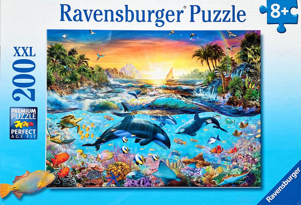 Magnificent colourful ocean above and under water. Puzzle sizes 49 x 36 cm Box Size 32 x 23 x 3 cm Recommended age 8 + Made in Czech Republic