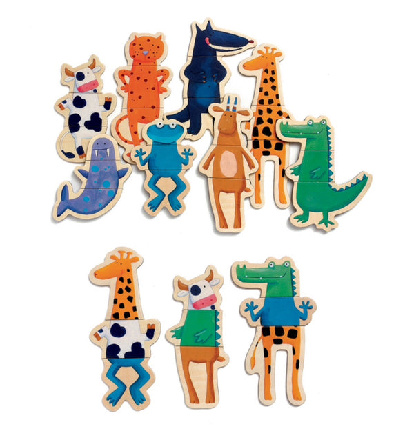 Djeco - Wooden Fridge Magnets, Crazy