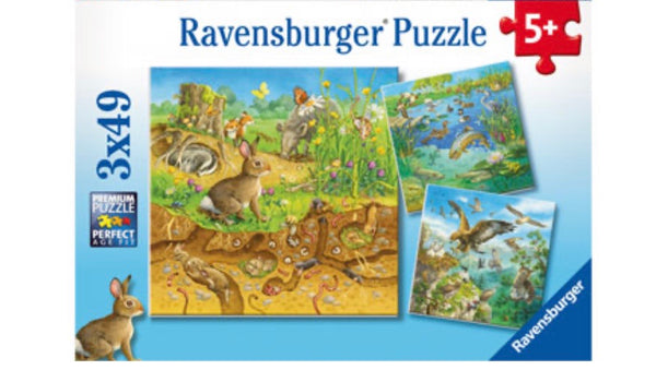 Ravensburger - Jigsaw Puzzle, 3 x49 Pieces, Animals in their habitats