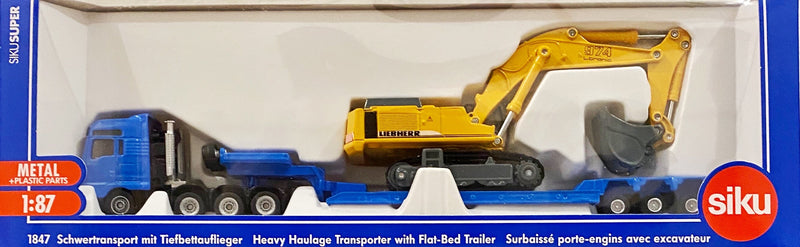 Siku Heavy Haulage Transporter with flat bed trailer is an awesome 2 piece sike truck for ages 3+