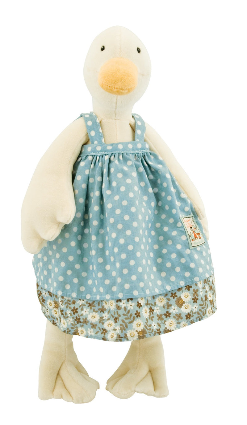 Jeanne the Duck wearing a beautiful blue and white polkadot dress. A favourite at Childplay