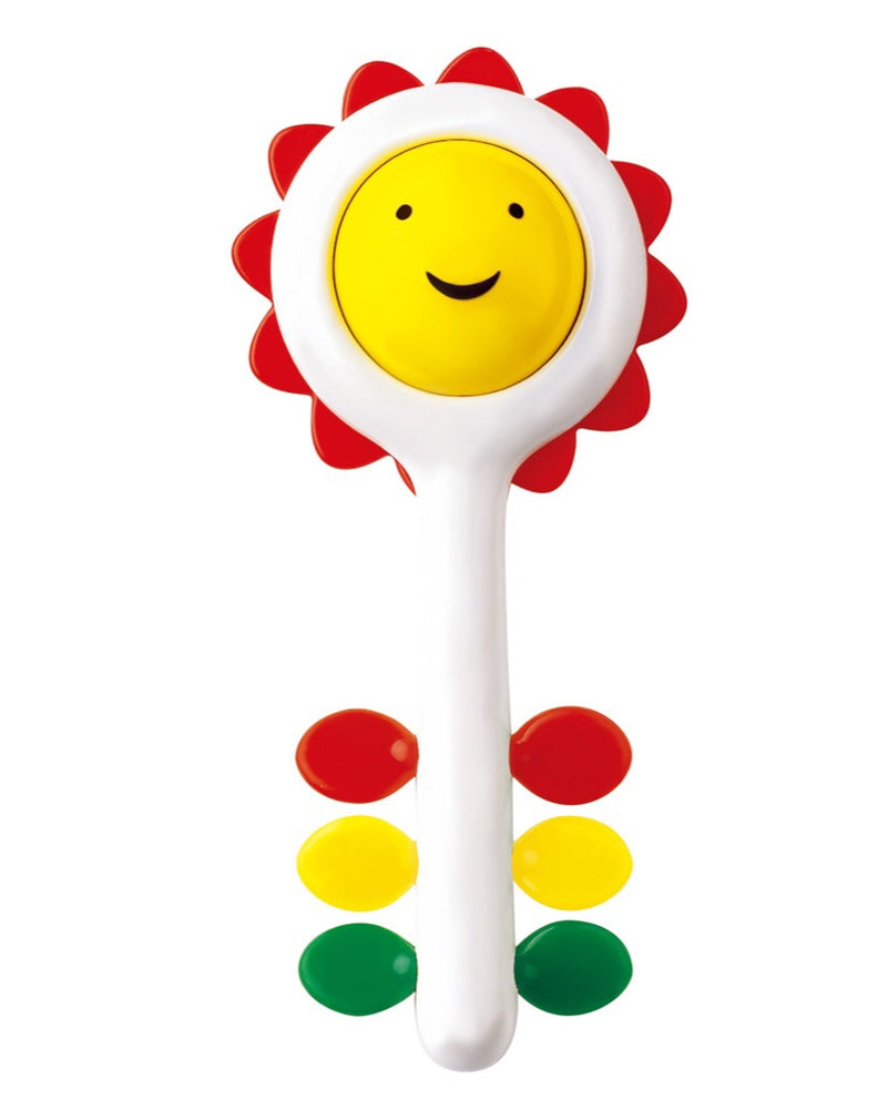 A happy sunflower rattle to spin, shake, touch and turn. This 2-1 rattle can also be used as a teether. height 17cm Recommended age 6 months+