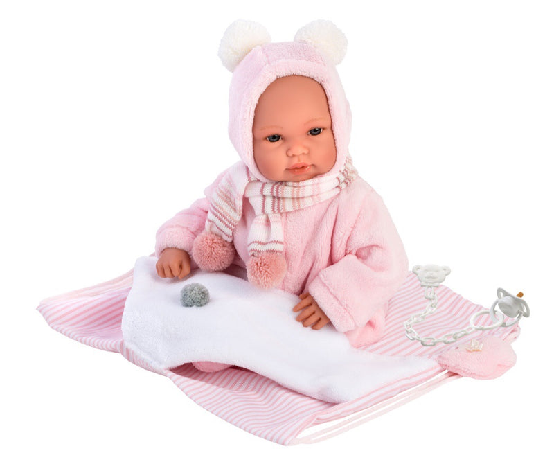 LLorens Baby doll is a lovely gift for children age 3+.  drawstring bag is a great addtional item with ths doll.