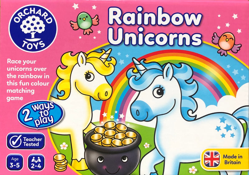 A new game from Orchard toys, Rainbow UNicorns- Race over the rainbow by matching the coloured unicorns. Great for ages 3-5 years.