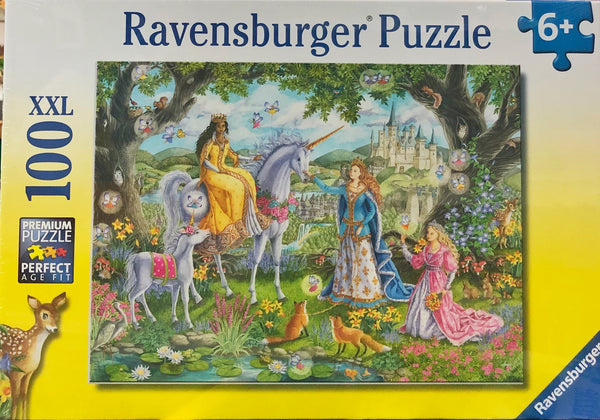 ravensburgere puzzle for chikdren age 6 years +. Illustration Theme-  Princess party including unicorn, castle and woodland animals. Very deatialed and beautiful