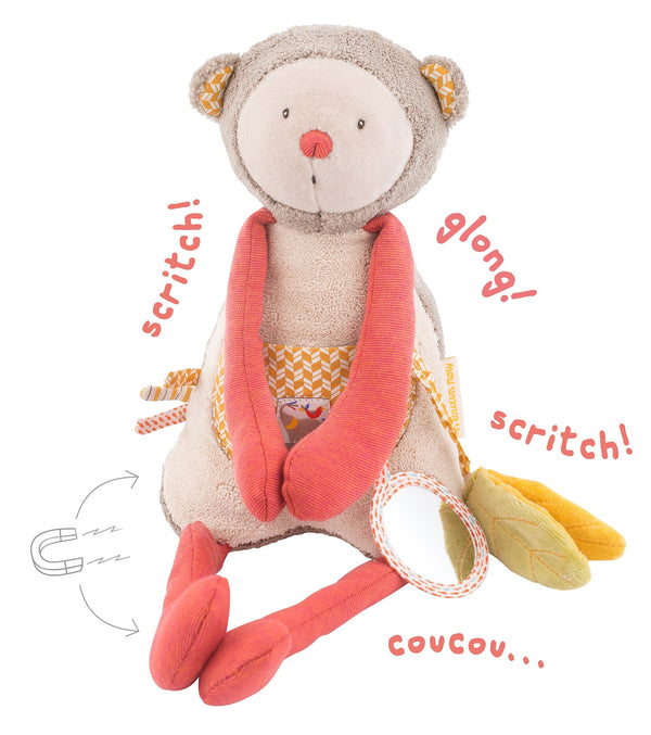 Children will be delighted with this activity monkey. Chime bell rattle, crinkle leaf, mirror, magnetic arms & legs, cute little ears and stomach pocket.