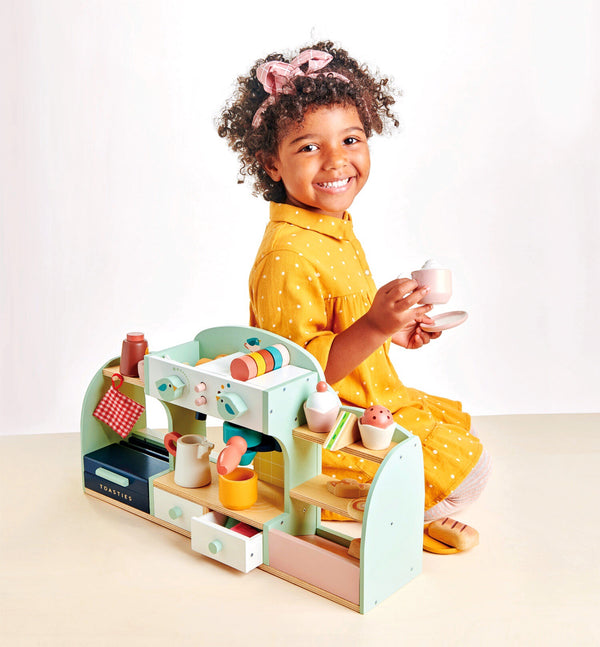 Tender Leaf Toys mini cafe is a wonderful new wooden imaginative play set for ages 3+. Make coffee, tea and serve cake for morning tea. Enjoy hours of cafe play.