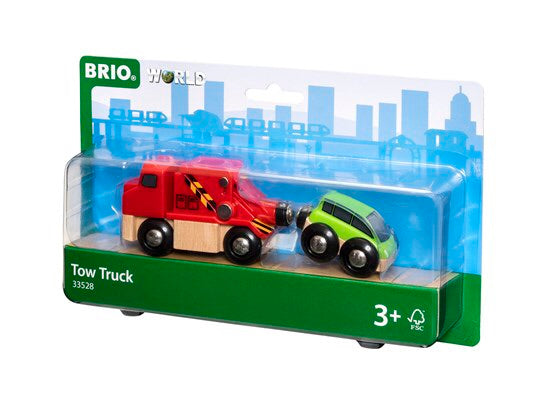 Help tow damaged or broken down cars or trains with this 2 piece tow truck set  Recommended age 3+