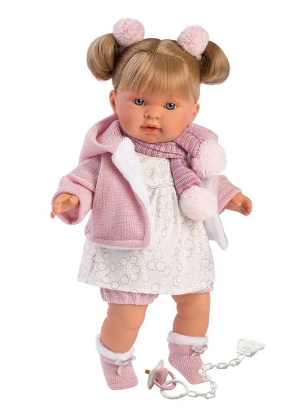 Llorens Doll 42 cm -Alexandra is a soft body doll with sweet blonde pigtails. Wearing a lovely white cotton dress with hooded jacket and matching scarf & booties. A great play doll for all ages.