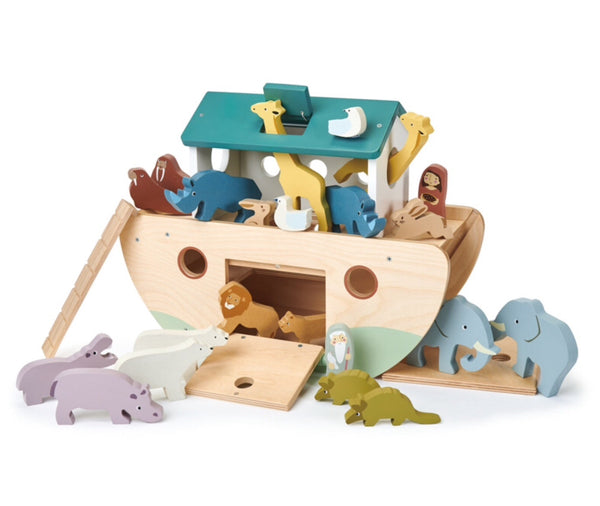 Tender leaf Toys Noah's Ark is new and a classic item for all ages 3+. A beautiful plain wooden ark with blue roof. Coloured wooden animals will capture hours of imaginative play.