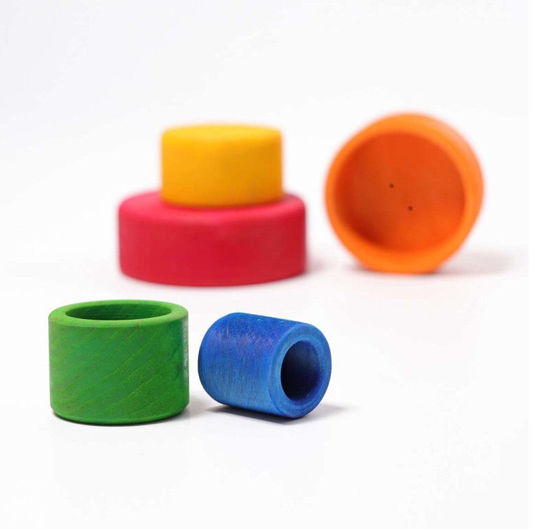 Grimm's Wooden Stacking Bowls, stack them , knock them down, roll them and enjoy the fun and colour of creative play.