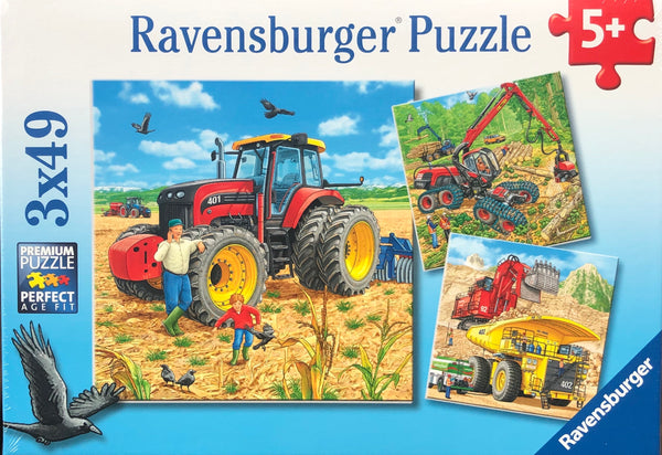 Ravensburger - Jigsaw Puzzle, 3 x49 Pieces, Big Vehicles