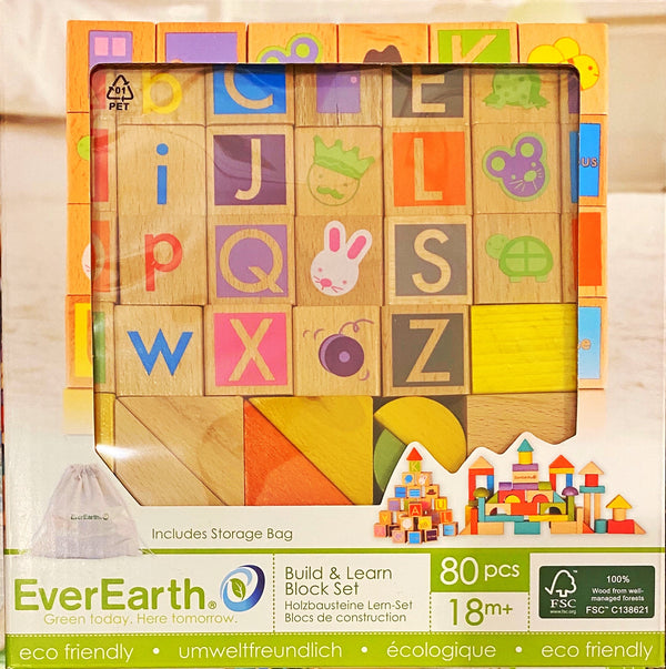 EverEarth - Wooden Blocks, Build & Learn Block set 80 pieces