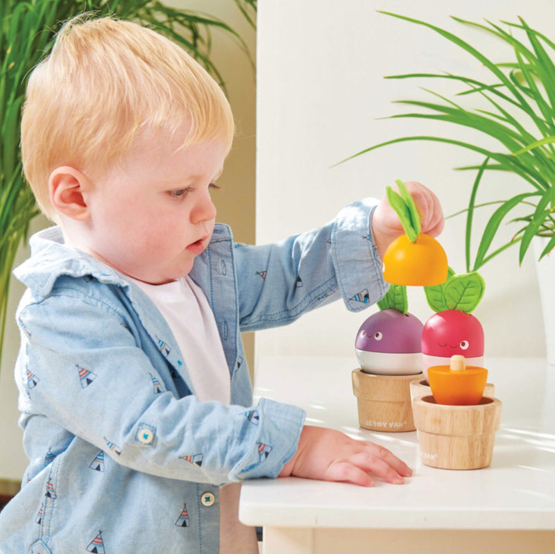Wooden stacking Veggies for imaginative play.Mix and match your little veggies. Radish dimension height 15 x 7 x 7 cm Recommended age 3+