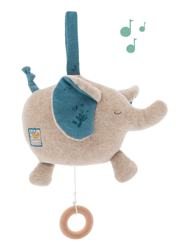 Musical Elephant, pull the cord & music will play. Easy to hang in the car & in the cot. A great soft toy with music to soothe your little one, very sweet.