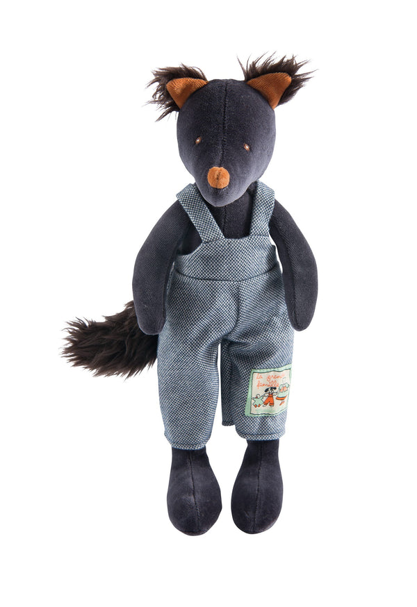 New plush toy from Moulin Roty wearing cute overalls! Igor the Wolf is the perfect gift for any newborn baby